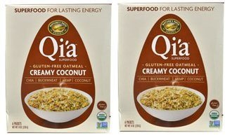 Qi'a Superfood Organic Hot Oatmeal - Creamy Coconut - 2 Boxes with 6 Packets Each Box (12 Packets Total) (8 oz each)