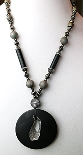 Onyx Platinum Drusy necklace