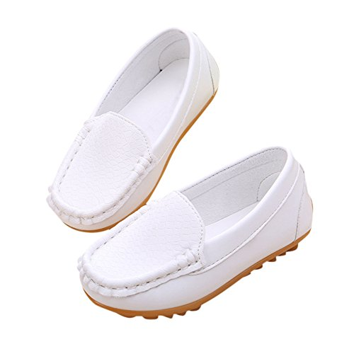 Oxford Bateau Chaussures Mode Blanc chic Enfant Princesse Confort Fille Chaussure En Plates Garçon Mocassin Loisirs Cuir Chic O1p0x