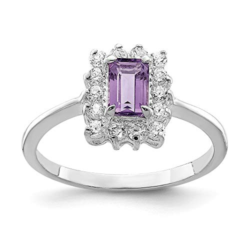 925 Sterling Silver Purple Amethyst Cubic Zirconia Cz Band Ring Size 6.00 Stone Gemstone Fine Jewelry Gifts For Women For Her