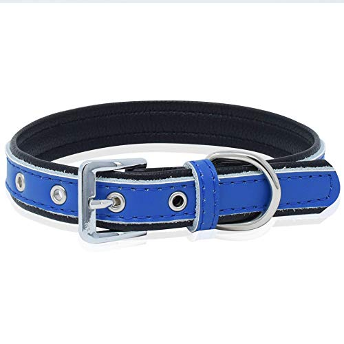 Epic Rogue Duo-Color Collar for Dog and Cat, Soft Padded Genuine Leather Pet Collar for Female Male Cats Puppy and Small Medium Large Dogs(Red, Blue, Pink, Deep Blue) (S, Deep Blue and Black)