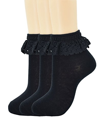 Women Lace Ruffle Frilly Ankle Socks Fashion Ladies Girl Princess H04 (3 (Floral Ruffle Socks)