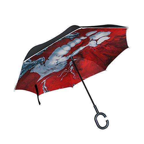 NQEONR Double Layer Inverted Water Art Color Red Artist Abstract Ink Umbrellas Reverse Folding Umbrella Windproof Uv Protection Big Straight Umbrella for Car Rain Outdoor with C-Shaped Handle