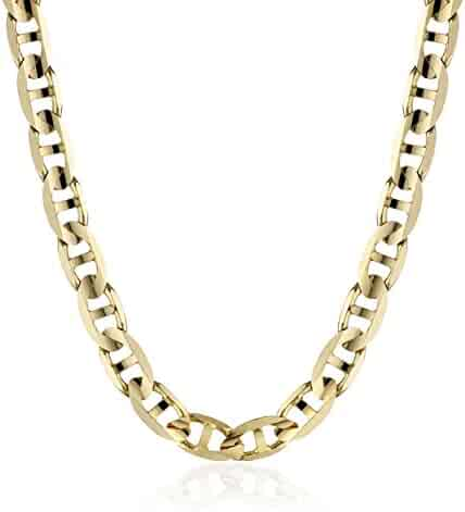 Men's 14k Yellow Gold 4.8mm Italian Mariner Chain Necklace, 20