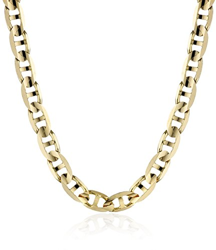 Men's 14k Yellow Gold 4.8mm Italian Mariner Chain Necklace, (Gold Solid Mariner Chain)