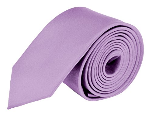 Moda Di Raza- Mens Skinny Slim Neck Tie - Silk Finish Polyester Men Necktie - Solid Color Long Ties for Men - Fashion Tie - Lilac