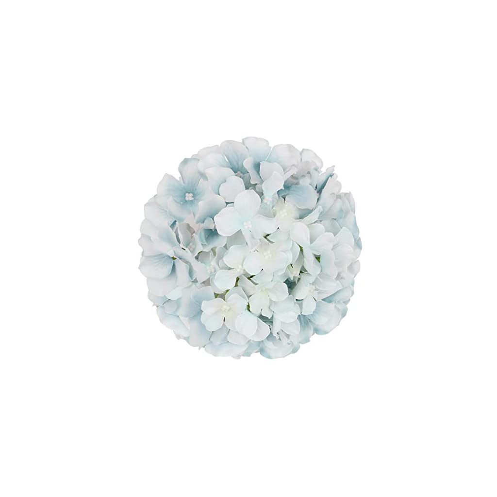 Flojery Silk Hydrangea Heads Artificial Flowers Heads with Stems for Home Wedding Decor,Pack of 10 (Lake Blue)