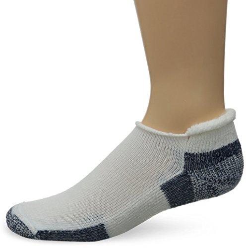 Thorlos Unisex Thick Padded Running Socks, Roll Top, White/Navy, X-Large (Women's Shoe Size: 10.5-13, Men's Shoe Size: 9 - 12.5)