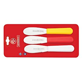 Mundial 3-1/2-Inch Serrated Edge Sandwich Spreader, Set of 3, Red, 1, Multicolor 1 Professional chefs are the most demanding users of kitchen tools. They count on products that enable them to do their best-day in and day out-with speed, precision and ease. That is why chefs all around the world have made Mundial their top choice for professional-grade knives.
