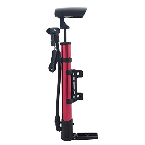 Rocky Mountain Valve (Red Portable Hand Bike Pump - Presta and Shrader Valve Compatible - Comes With An Attached Floor Pump Pedal And Attachments Making It Easy And Convenient To Use - Attaches to Bike Frame)