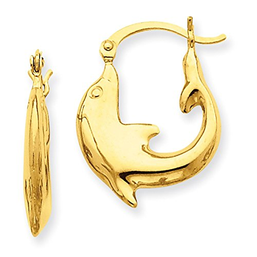 Lex & Lu 14k Yellow Gold Polished Dolphin Hoop Earrings LAL81524-Prime