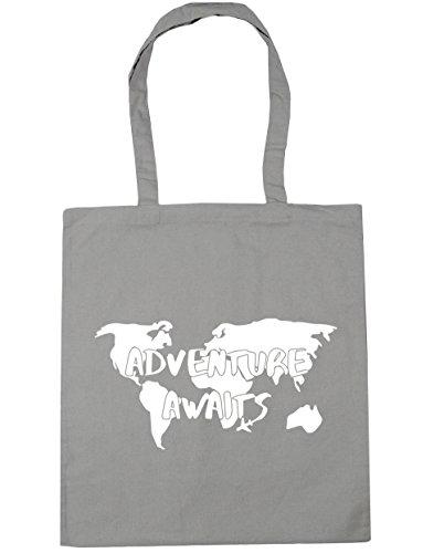 HippoWarehouse aventura aguarda Tote Compras Bolsa de playa 42cm x38cm, 10litros gris claro