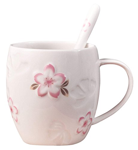 Cherry Blossom Floral Porcelain - YBK Tech Strength Porcelain Ceramic Tea Cup Cute Cherry Blossoms Coffee Mug with Spoon for Home Office Kitchen (White)