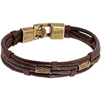 MAIDIEN 1PC New Men's Braided Leather Stainless Steel Cuff Bangle Bracelet Wristband