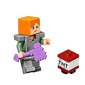 LEGO Minecraft MiniFigure - Alex (Flat Silver Armor & Legs) w/ TNT Box 21139