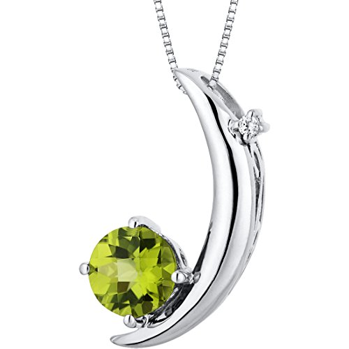 (Crescent Moon Design 1.00 carats Round Checkerboard Cut Sterling Silver Rhodium Finish Peridot Pendant)