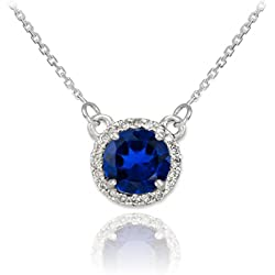 14k White Gold Diamond-Accented Natural Blue Sapphire Solitaire Necklace