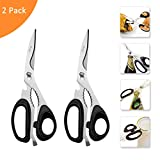 Kitchen Scissors, 2 Pack Come-Apart Kitchen Shears Herb Scissors, 4 in 1 Multi Purpose Stainless Steel Scissors for BBQ Chicken Poultry Meat Vegetables, Bottle Opener (Black)