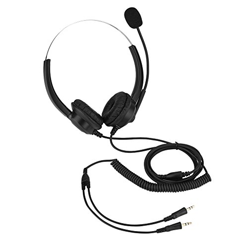 Cordless Phone Headset,Lossless Sound Call Center Headphones 360° Rotary Earmuffs Call Center Headset (Dual 3.5mm Plugs) from Hakeeta