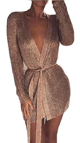 - Pandapang Womens Dress Metallic Sexy Low Cut Belt Sparkle Open Front Cardigan Golden XS