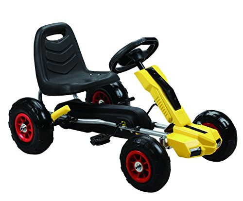 Vroom Rider Power Pedal Go-Kart Ride Ons with Pneumatic Tire, Yellow