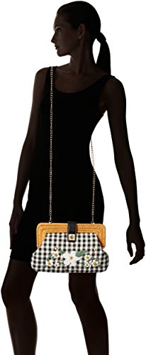 clutch daisy checkered Black black white Betsey Handbag amp; tan natural and Women crossbody confused and Johnson wYqYvHZO