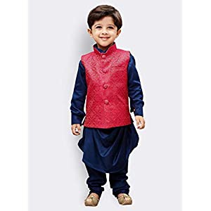JBN Creation Boys Cotton Kurta Modi Jacket and Pyjama Set (Blue_VASBJK062BU)