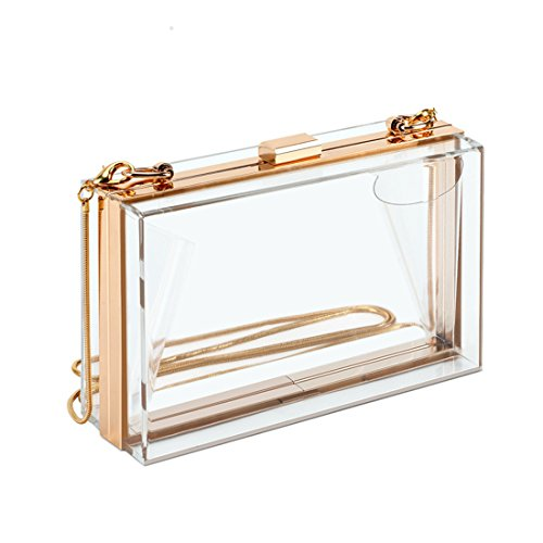 Cute Transparent Clear Acrylic Crossbody Box Clutch Evening Bag Shoulder Handbag Gold Chain Purse For Women