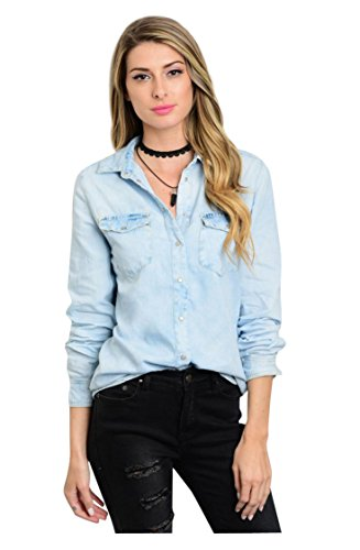 Tabeez Women's Distressed Light-Wash Denim Button-Down Shirt (Small, Solid Light Denim Blue) (Women Light Wash)