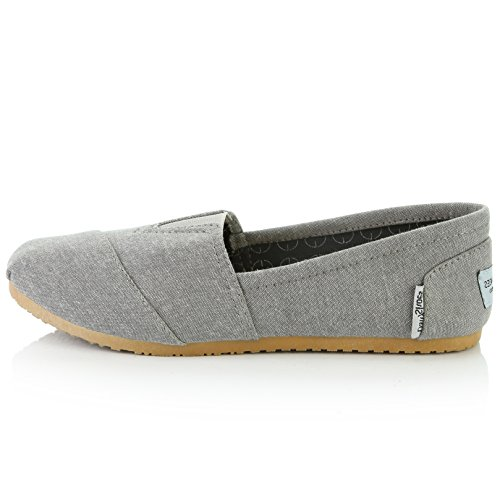 DailyShoes Women's Women Classic Flat Slip-On Comfort Loafer Sneaker Shoes with Raised Massage Surface Elastic Top Flats Shoe, Ash Grey Linen, 8 B(M) US by DailyShoes (Image #7)
