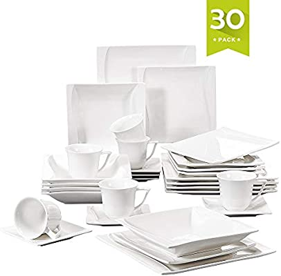 Malacasa 30 Pieces Dinnerware Set Square Dishes White; Includes 6 Dinner Plates 6 Soup Plates 6 Dessert Plates, 6 Mugs and 6 Saucers, Service for 6 ...