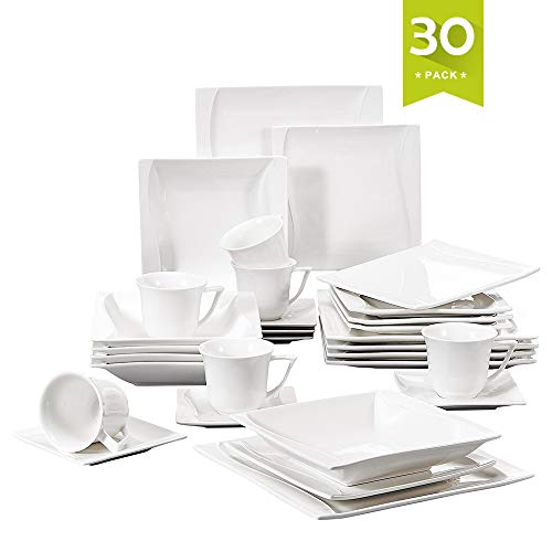 Malacasa 30 Pieces Dinnerware Set Square Dishes White; Includes 6 Dinner Plates 6 Soup Plates 6 Dessert Plates, 6 Mugs and 6 Saucers, Service for 6 Series Carina