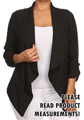 Womens Plus Size Blazer Asymmetrical Open Front Fold Over Lapel Jacket Career (3x, Midnight Black)