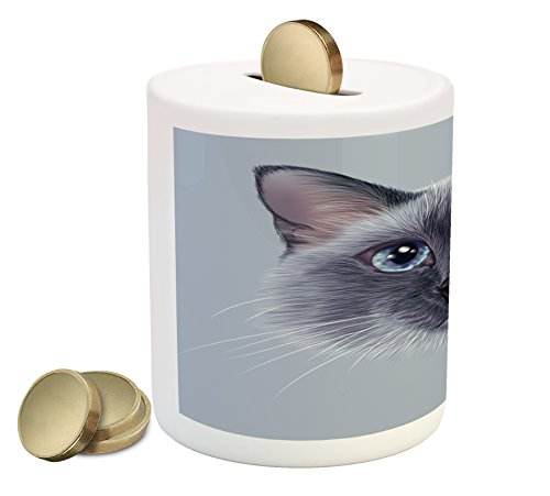 Ambesonne Animal Piggy Bank, Portrait Image of Thai Siamese Cat with Retro Style Lettering Artwork, Printed Ceramic Coin Bank Money Box for Cash Saving, White Sky Blue and Grey