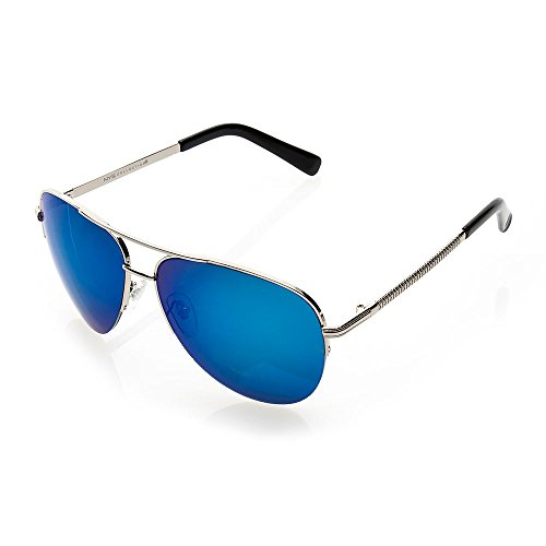 NYS Collection Bay Avenue Aviator Sunglasses, Silver Frame/Blue - Nys Sunglasses Collection