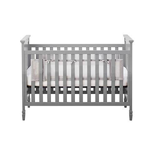 BreathableBaby Classic Breathable Mesh Liner for Solid End Cribs - Gray