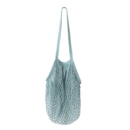 Yeefant Durable Reusable Fruit String Grocery Shopper Cotton Tote Mesh Woven Long Portable and Convenient Shopping Net Shoulder Bag,Washable,Wear Resisting,Blue from Yeefant Organizers
