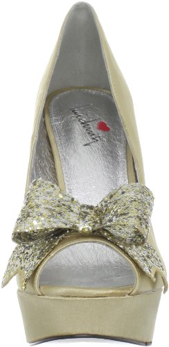 Luichiny Kissy Kiss Damen Gold Textile Plateausandalen Schuhe Neu EU 38,5