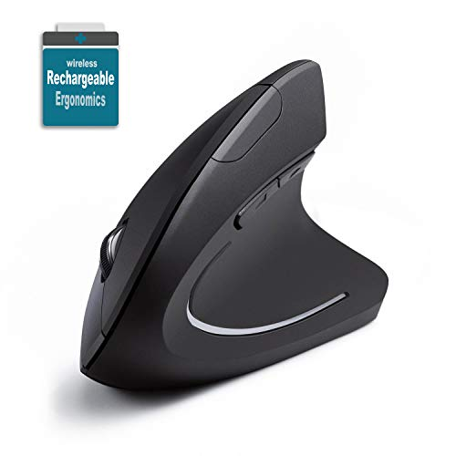 Rechargeable Vertical Mice Ergonomic Wireless Mouse, Vertical Mouse Ergonomic Design with 2.4G USB Receiver 3 Adjustable…