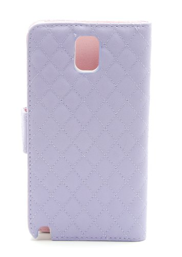 ZZYBIA® NOTE III 3 QCV Purple Leatherette Stand Case Card Holder Wallet with Romantic Victorian Dust Plug Charm for Samsung Galaxy Note III 3 N9000 N9005