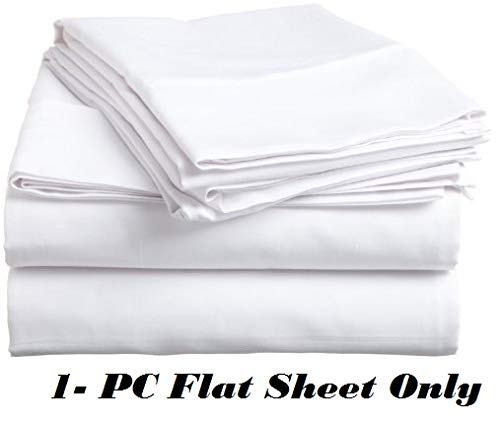 (Twin Extra Long Flat Sheet Only, 700 Thread Count Egyptian Cotton 1 Piece Luxury Hotel Flat Sheet/Top Sheet White Solid-100% Satisfaction Guarantee)