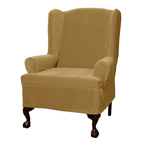 Maytex Collin Stretch 1 Piece Slipcover Wing Chair, Gold