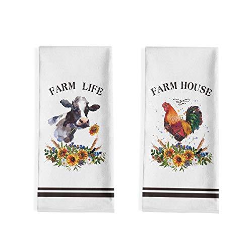 Artoid Mode Farm House Life Cock Farm Life Donkey Kitchen Dish Towels, 18 x 28 Inch Fall Harvest Holiday Party Ultra…