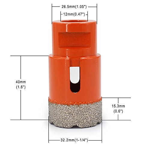 Diamond Core Drill Bit Masonry Hole Saw Kit With 1-1/4 Inch Cutting Diameter Vacuum Brazed For Most Angle Die Grinders Dry Wet Drilling Concrete Granite Porcelain Ceramic Tile Marble Stone -