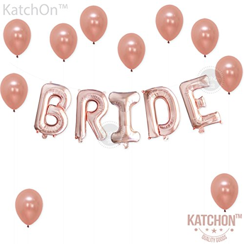 Bride Rose Gold Balloons Decorations – Great for Bridal Shower Party | Cute Rose Gold Bridal Shower Decorations Backdrop | 16 Inch, BRIDE Mylar Foil Letter Balloons | Extra Pack of 10 Latex Balloons