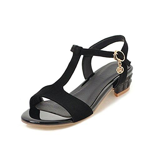 Zapatos de Mujer PU Summer Comfort Sandalias Zapatos para Caminar Block Heel Round Toe Hebilla para Exteriores Do