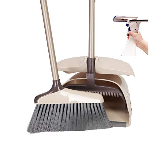 - Dustpan & Broom Sweep Set | Long Handle Cleaner for Home, Kitchen, Room, Office and Lobby Floor | Upright Standing up Dust Pan & Broom Combo | With Free Magic Window Cleaner & Spray