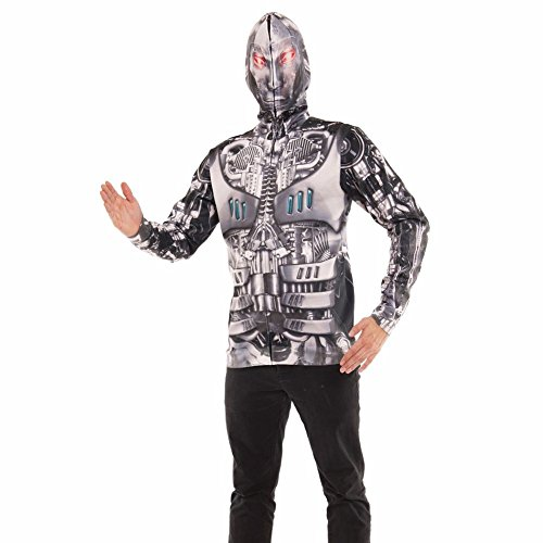 Max The Dog Costume For Adults (Faux Real Men's Robot Mask Hoodie, Silver, X-Large)