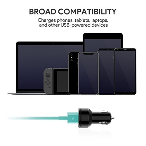 AUKEY Car Charger with Power Delivery, 27W USB-C & 5V/2.4A USB Dual Port Output for Macbook, iPhone X / 8 / Plus, SamsungGalaxy Note8 and More