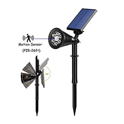 Solar Powered LED Motion Activated Spotlight, Outdoor Waterproof Landscape Light, Auto ON/OFF, Max 300LM, With Bright/Dim Mode - Perfect for Walkway, Yard and Driveway [Pack of 2]